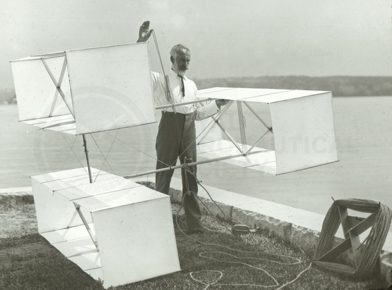 Lawrence Hargrave with one of his box-kite designsLawrence Hargrave with one of his box-kite designs