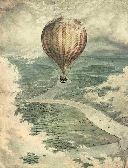 The 'Vauxhall' or 'Nassau' Balloon over the Medway, 1837. Unknown artist.